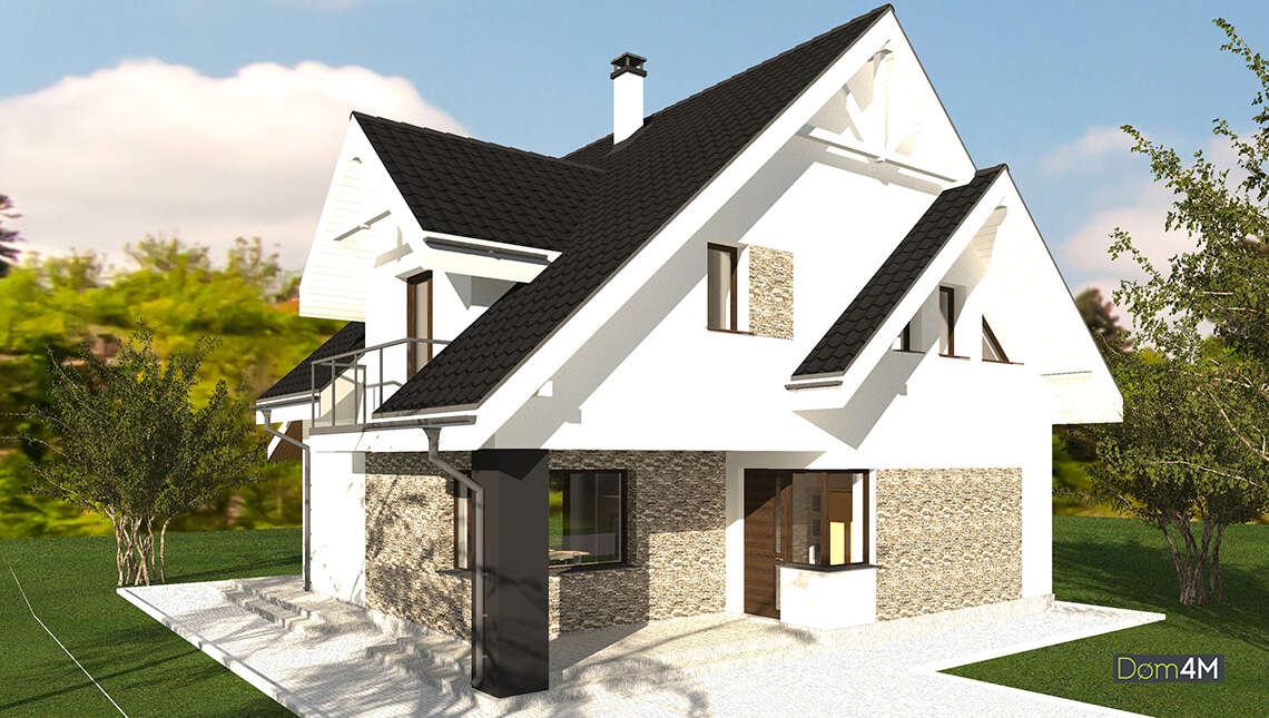 Проект двухэтажного дома площадью 174 кв. м с двумя террасами и балконом