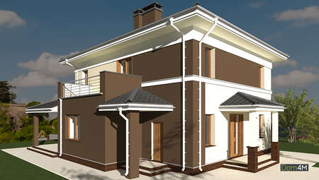 Схема стильного дома в два этажа общей площадью 178 кв. м с балконом и открытой террасой
