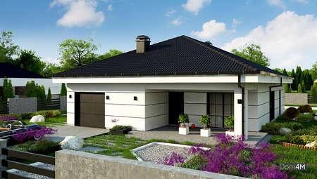 План красивого одноэтажного дома площадью 164 кв. м с торжественным экстерьером