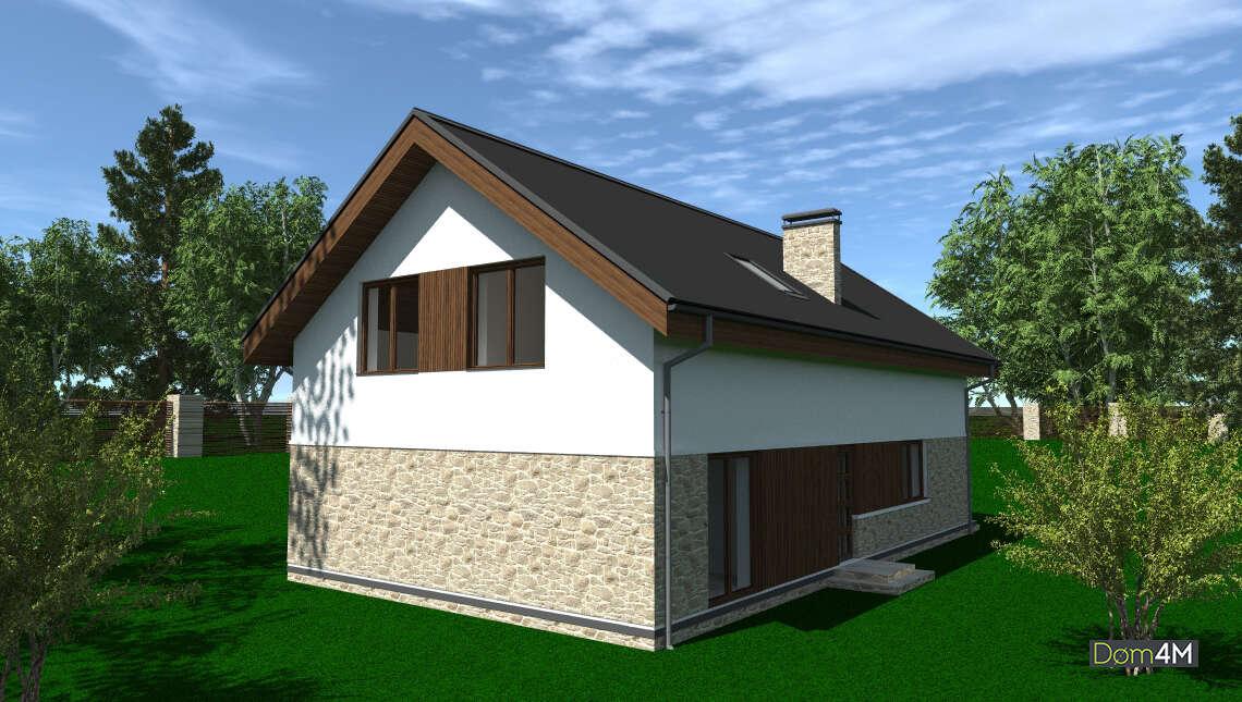 Двухэтажный коттедж с декором из натурального камня