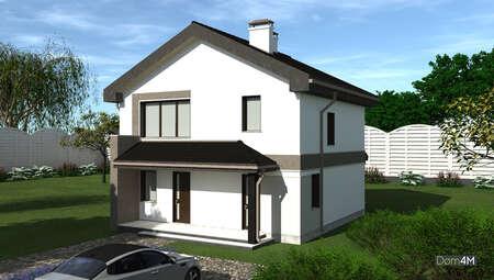 Небольшой дом под двухскатной кровлей шоколадного цвета