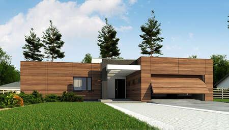 Проект современного коттеджа с плоской крышей