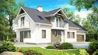 Проект большого дома с гаражом, мансардой и дополнительной спальней