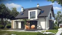 Проект дома с оригинальной мансардой и гаражом