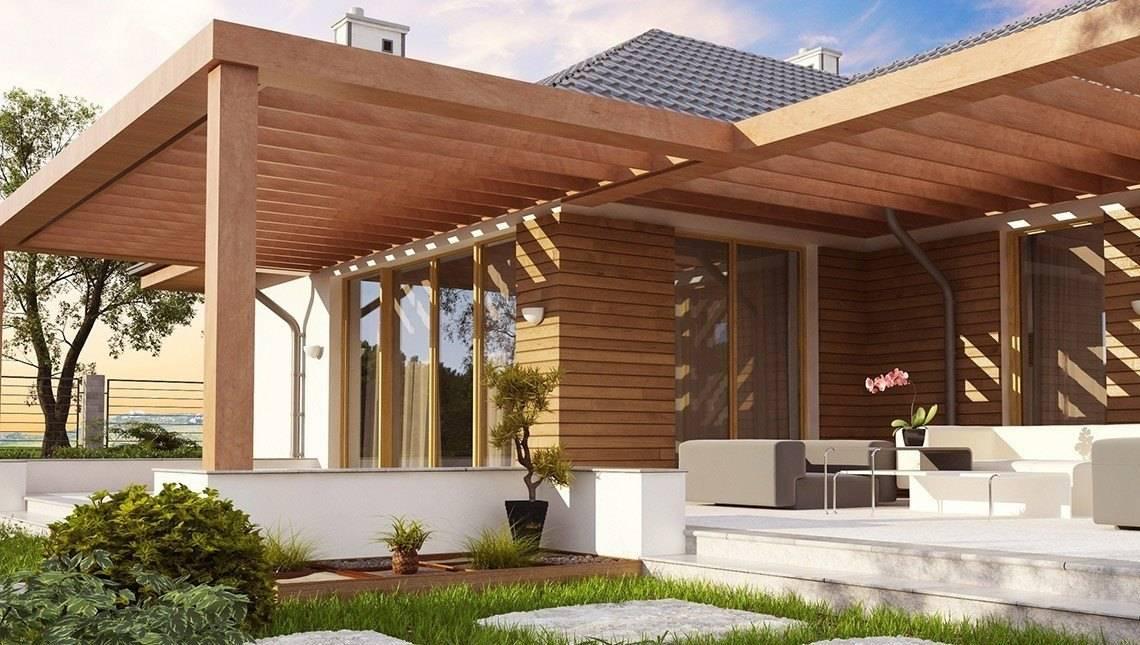 Проект одноэтажного дома с фронтальным гаражом для двух машин