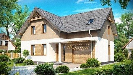 Проект удобного дома с мансардой и гаражом на 1 авто общей площадью 172 кв.м.
