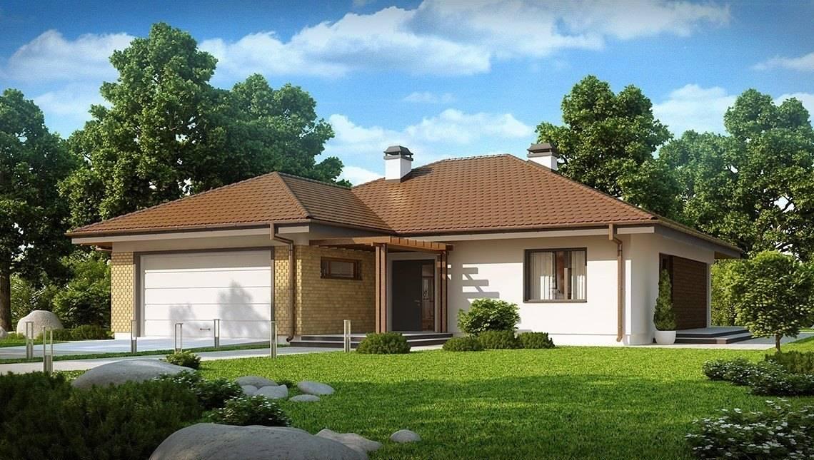 Проект одноэтажного дома с гаражом для двух автомобилей и большим хозяйственным помещением