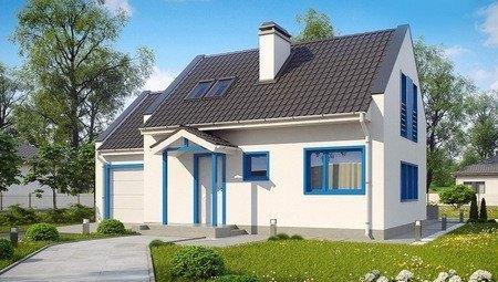 Проект небольшого светлого дома с гаражом, стильными большими окнами