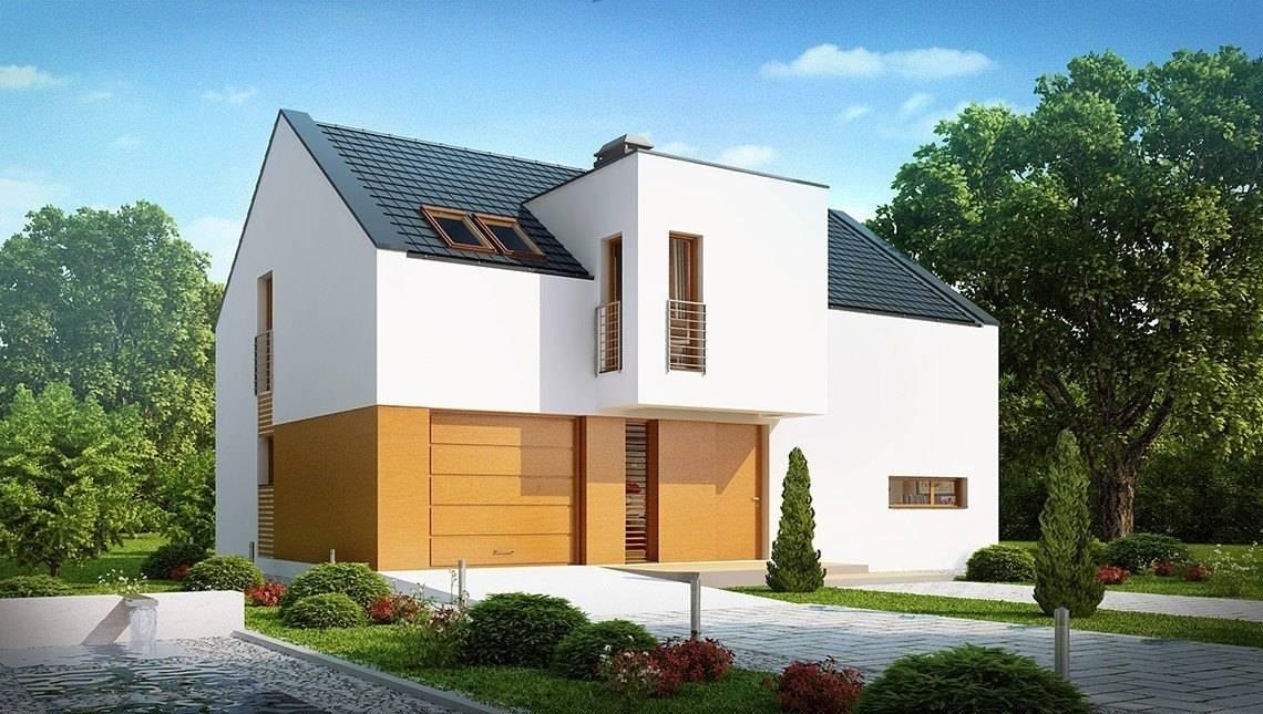Проект современного светлого дома с гаражом и двускатной крышей