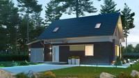 Проект небольшого аккуратного дачного дома с гаражом и мансардой