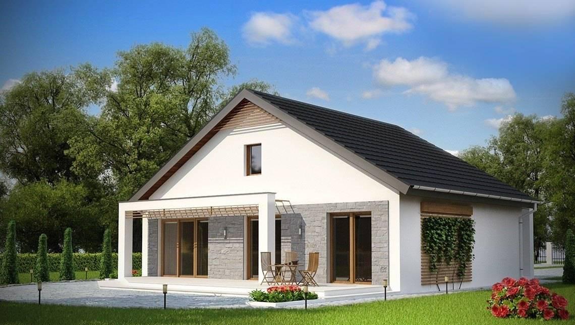 Проект одноэтажного коттеджа с дополнительной фронтальной террасой