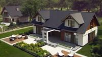 Проект просторного коттеджа с мансардой и удобным балконом