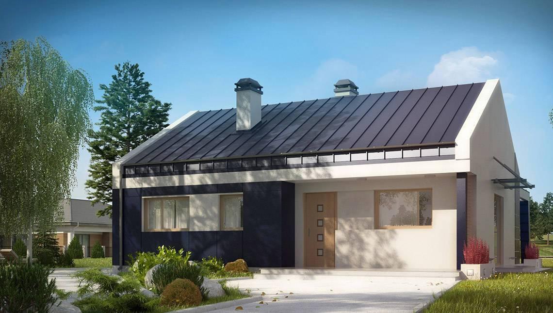 Проект современного одноэтажного коттеджа с необычной террасой