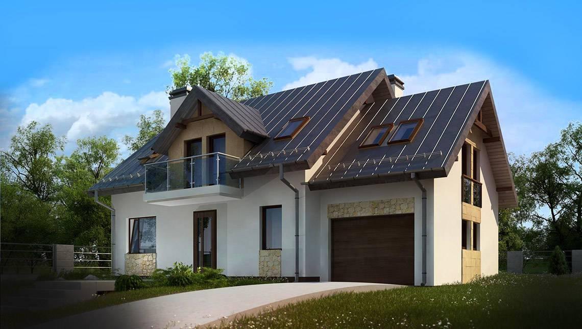Проект современного коттеджа с пятью спальнями и гаражом