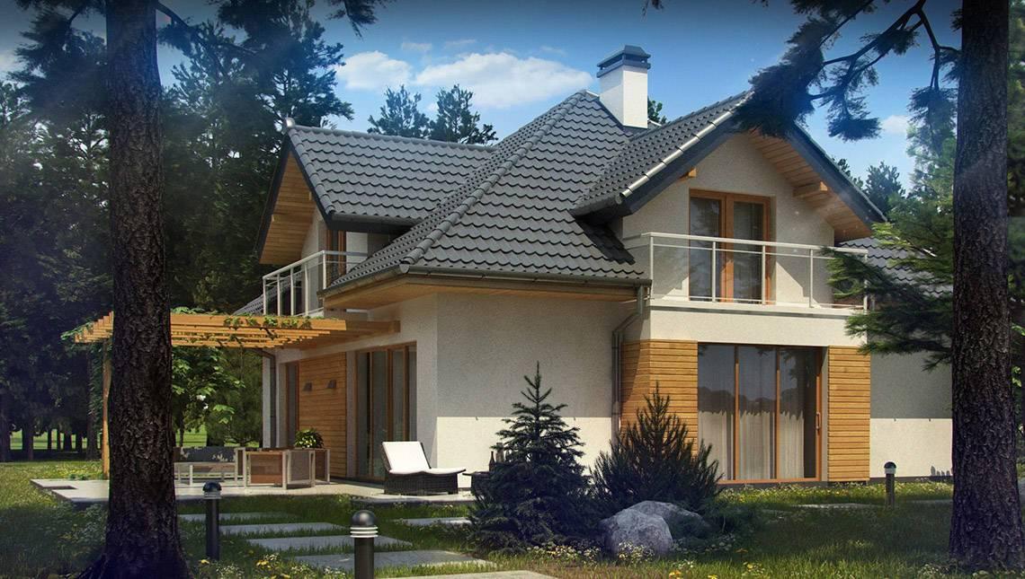 Проект коттеджа с фасадными окнами и гаражом для двух автомобилей