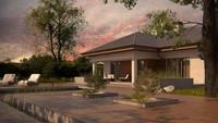 Проект одноэтажного дома с многоскатной крышей, удобным интерьером