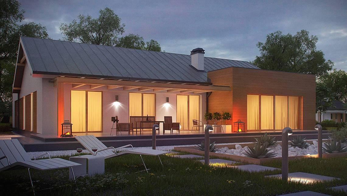Проект одноэтажного коттеджа простой формы с гаражом для двух авто