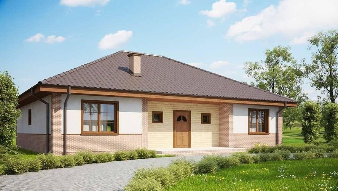 Проект одноэтажного дома с фасадом из кирпича