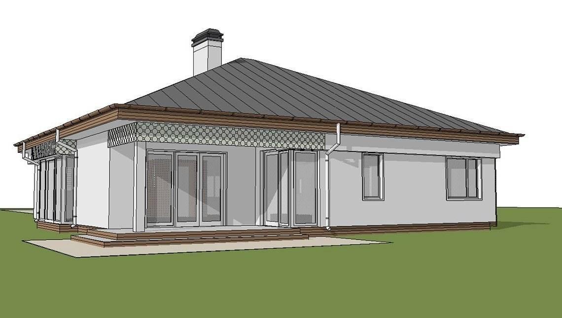 Проект стильного, просторного современного одноэтажного дома