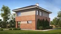 Проект небольшого современного коттеджа с кирпичным фасадом