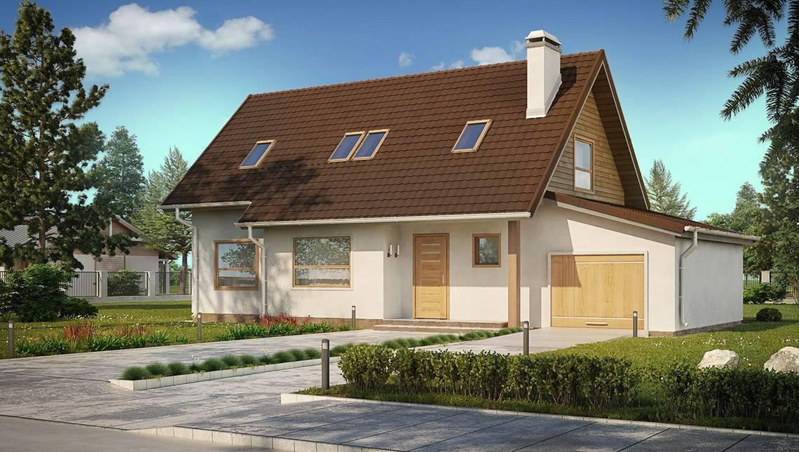 Проект экономичного дома с мансардой и гаражом