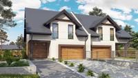 Проект двухэтажного коттеджа на две семьи с гаражом