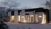 Практичный одноэтажный дом в стиле хай-тек