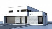 Проект коттеджа в стиле модерн с гаражом для двух авто