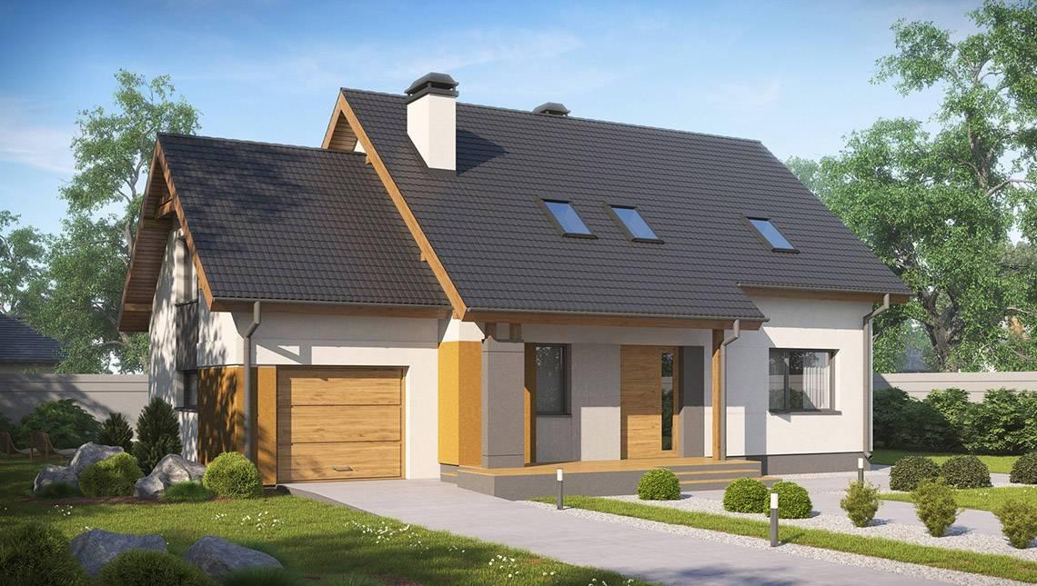 Проект стильного практичного дома с мансардой, гаражом