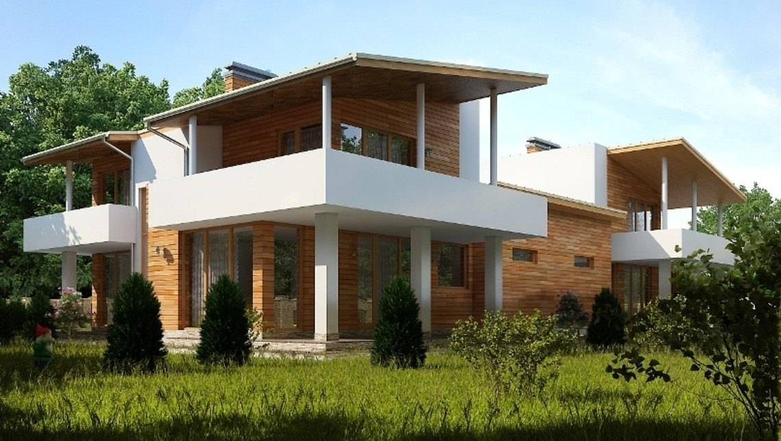Проект современного дома на две семьи с плоской крышей