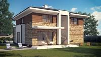 Проект большого двухэтажного дома со встроенной сауной