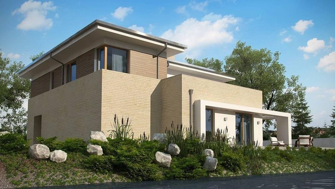 Проект двухэтажного современного дома с баней