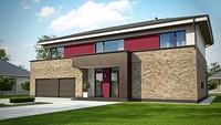 Проект двухэтажного современного дома с большим гаражом и сауной