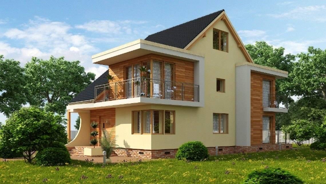 Проект оригинального дома с мансардой и чердачным помещением