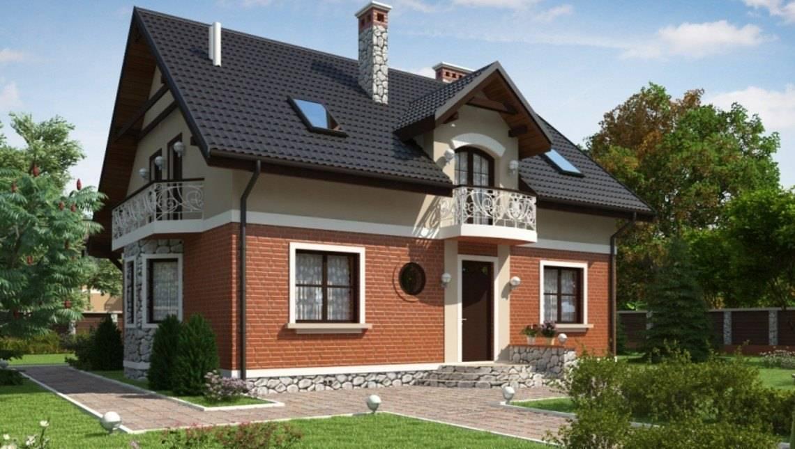 Проект классического дома с мансардой и красивыми балконами