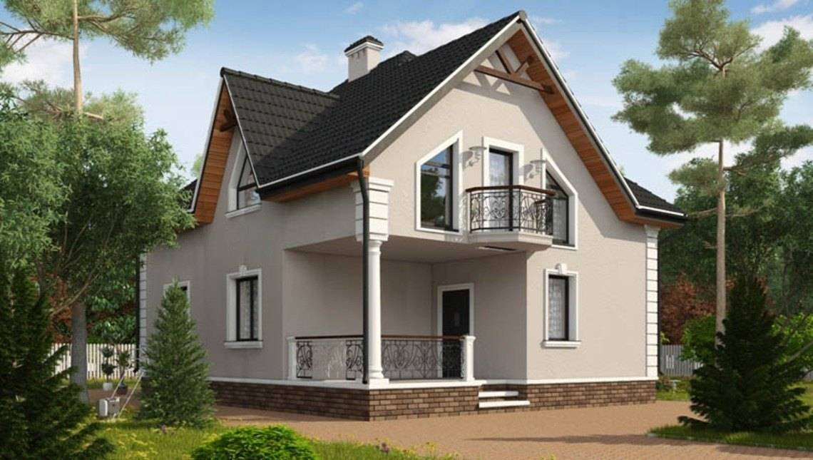 Одноэтажный коттедж с мансардой и красивым балконом над крыльцом