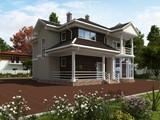 Стильный необычный двухэтажный особняк с круглым панорамным окном