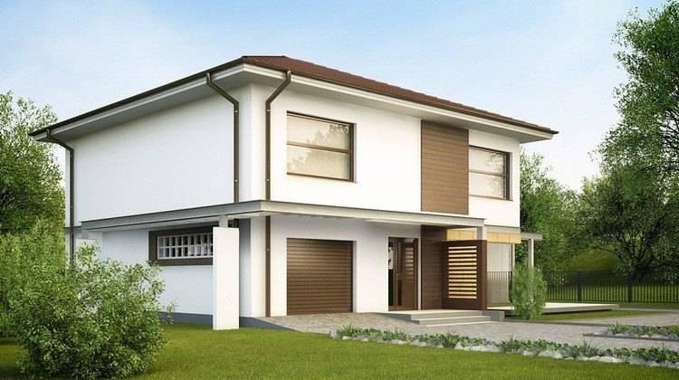 Простой проект двухэтажного дома со встроенным гаражом