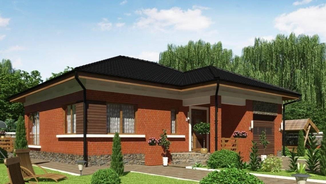 Проект дома с кирпичным фасадом и сауной