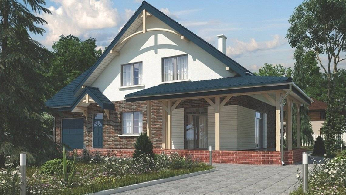 Просторный загородный коттедж с кирпичным фасадом