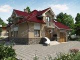 Классический стильный загородный дом с мансардой и гаражом