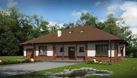 Проект большого загородного дома с гаражом и мансардой