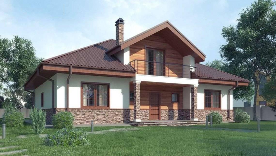 Проект классического коттеджа с красивыми окнами и мансардным этажом