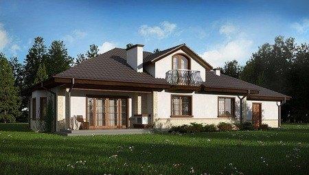 Проект большого красивого дома с гаражом на 2 машины, мансардой, балконом