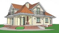 Проект классического большого коттеджа с гаражом и балконами