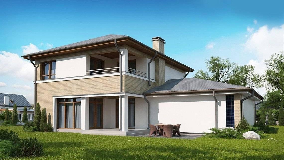 Проект классического 2х этажного дома с гаражом на два автомобиля