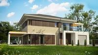 Проект стильного 2х этажного дома с гаражом и террасой на втором этаже
