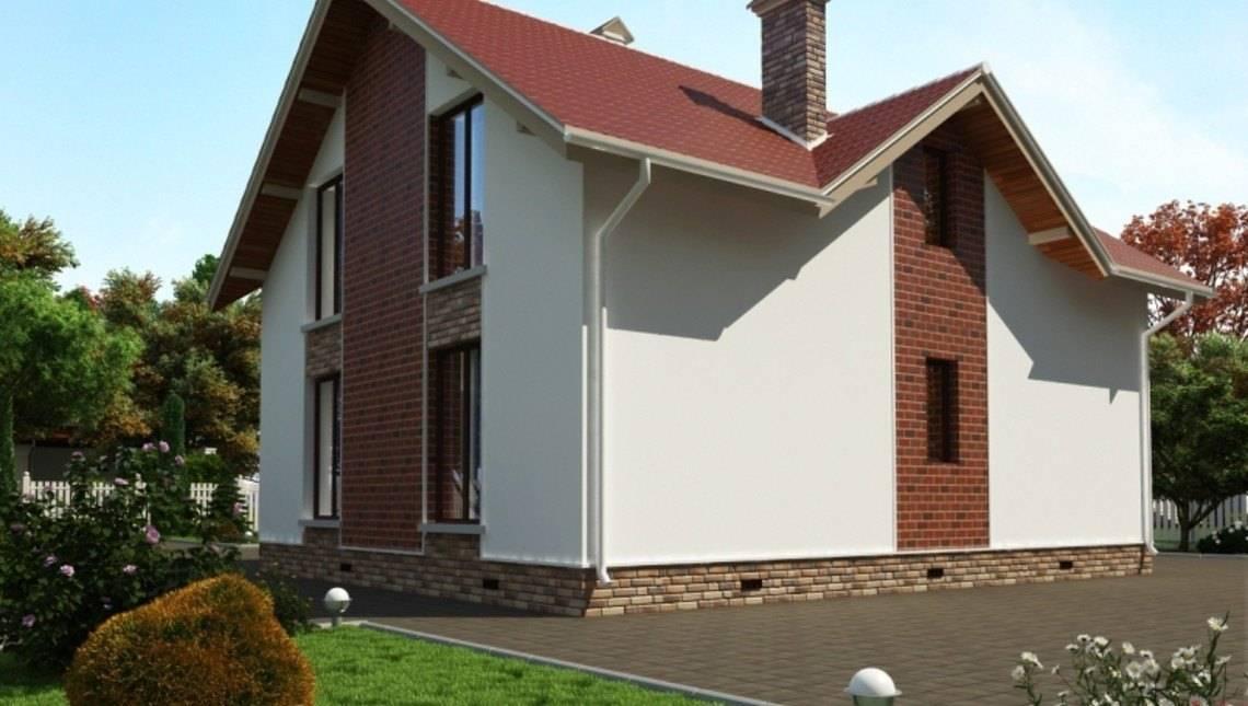 Большой загородный коттедж с мансардой и фронтальным гаражом