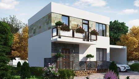 Небольшой современный двухэтажный дом с плоской крышей