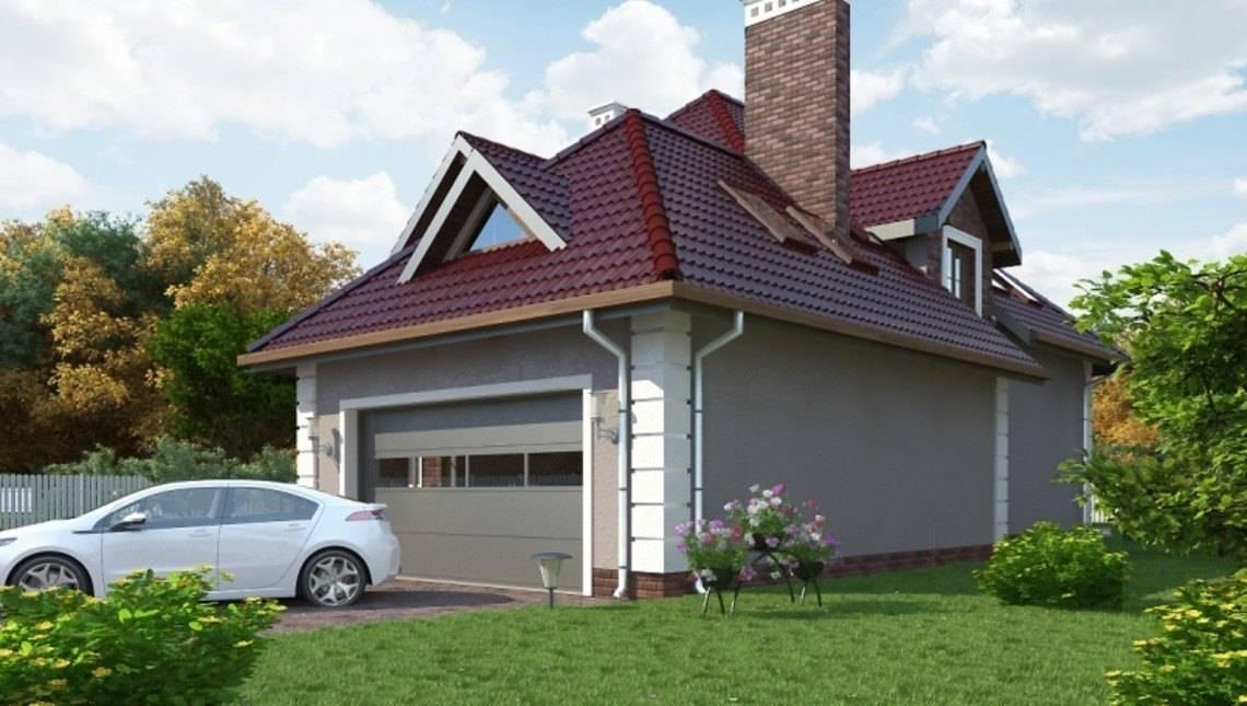 Классический особняк с мансардой и фронтальным гаражом